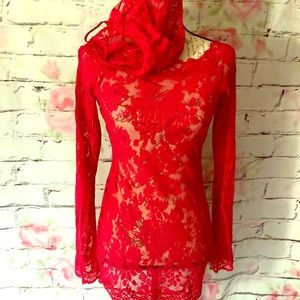 HOT RED ❤️ Victoria Secret Lace Nighty w Panties❤️